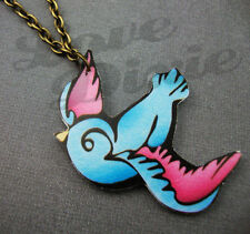 Lonesome Swallow Tattoo Necklace Blue Pink Rockabilly Kitsch Emo DIY