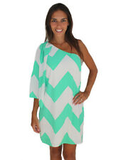 Women's Loose White & Mint Green Chevron Off Shoulder Batwing Chiffon Dress Sz M