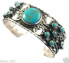 TAXCO MEXICAN STERLING SILVER TURQUOISE BEADED BEAD SCROLL CUFF BRACELET MEXICO