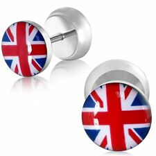 10mm Stainless Steel Flag Of The United Kingdom Faux Fake Earrings Pair CBY087