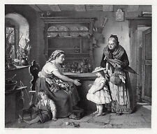 """Appealing M. Ritscher 1800s Antique Engraving """"The Bashful Visitor"""" Signed COA"""