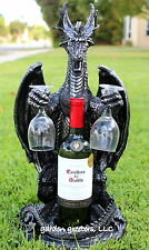 DRAGON WINE BOTTLE & GLASS HOLDER STATUE