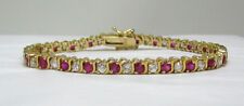 Created Ruby & Cubic Zirconia S-Curve Tennis Bracelet 14K Gold Over .925 Silver