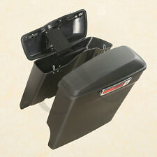 Matte Black Extended Stretched Hard bags Saddlebags Fits Harley HD Touring 14-16