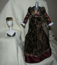 BARBIE JULIET GOWN DRESS GREEN VELVET GOLD BROCADE SHOES HAT FASHION FOR DOLL