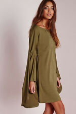 PREMIUM Olive Flared OVERSIZE BELL SLEEVE Tunic Shift Hippie Loose Gypsy Dress S