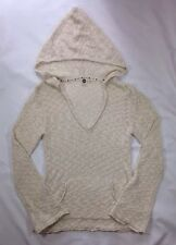 EUC Women's Roxy Ivory Hooded V-Neck Pullover Sweater-Size M