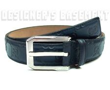 GUCCI navy 42-105 GUCCISSIMA leather silver buckle Mens dress Belt NWT Authentic