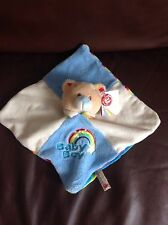 Keel Toys Baby Boy Rainbow Colours Rattle Soft Toy Comforter Comfort Blanket New
