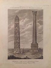CLEOPATRA COLONNA DI ALESSANDRO EGITTO acquaforte 1817 Cooke POMPEI PILASTRO