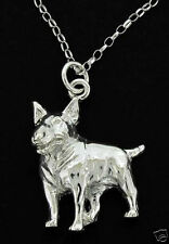 SILVER 925 ENGLISH BULL TERRIER DOG PENDANT &  CHAIN UK