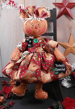 PATTERN Christmas Raggedy Gingerbread Baby Girl Cloth Doll Primitive Folk Art 77