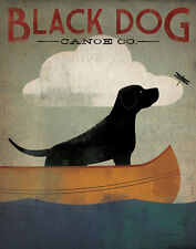 LABRADOR RETRIEVER BLACK DOG CANOE COMPANY PRINT RETRO ADVERTISING POSTER Large
