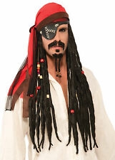 Pirate Headscarf with Attached Dreads - Adult Buccaneer Scarf Accessory