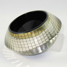 Vintage Space Age Extra Wide Glitter Lucite Bracelet Bangle Mirror Inclusions