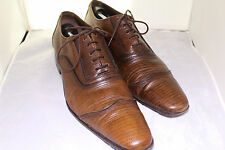 ZARA Classic Brown Leather Shoes WING-TIP LIZARD PRINT OXFORDS Sz 12 EUR 45