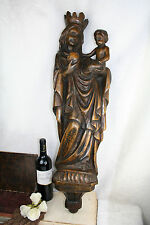 "Huge 33"" 1900 French Beech wood carved Madonna statue  plinth religous church"