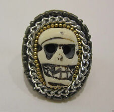 HALLOWEEN JEWEL BRASS RING GOLD TONE SKULL RING  CHAIN / BEADS RING FREE SIZE