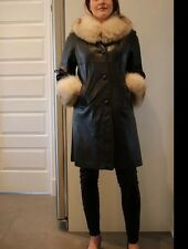 Vintage Arctic Fox Fur Coat Mod Leather Trench Swing Stroller Cape Jacket