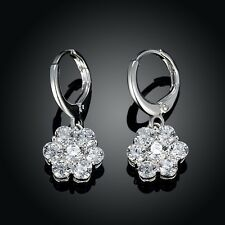 925 Sterling Silver SF Crystal Flower Sparkling Wedding Lever Back Earrings