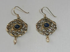 Ladies Art Nouveau Design 925 Silver Lapis Lazuli & Freshwater Pearl Earrings