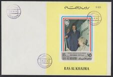 1972 Ras al Khaima FDC Visit of Pompidou Cape Kennedy Space M/S yellow [brd727]
