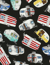 Timeless Treasures Vintage Campers, Trailers on Black Background-NEW Fabric