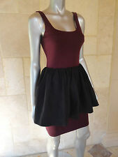 $88 Aqua New Red Bordo Ponte Peplum Part Cocktail Party Clubwear Dress Sz M NWT