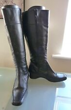 Next Ladies Boots 6.5 39 Black Knee High Low wedge Casual Smart Leather