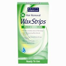 36 Face & Bikini Line Wax Strips Waxing Facial Hair Removal Sensitive Skin
