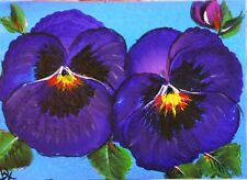 """ACEO ORIGINAL PAINTING Dixie Art Card IMPRESSIONISM """"PARTY OF TWO"""" PANSIES PURPL"""