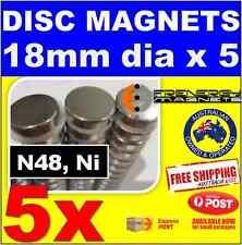 5X DISC Neodymium Rare Earth Magnets 18mm x 5mm N48