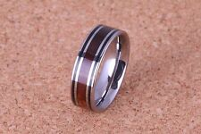 6mm Koa wood Tungsten Ring Double Line Flat Style and Comfort Fit
