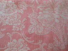 Antique  French Pink Floral Roses Basket Scroll Cotton Damask Ticking Fabric