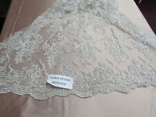 Elegant Off white Flowers Embroider And Beaded On A Mesh Lace. Nightgown/Fabric.