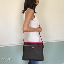 NEW! COACH Pink Brown Signature PVC Leather Shoulder Crossbody Bag Purse
