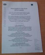 ELVIS COSTELLO 4 Singles and Tour dates 1 page (2-sided) PRESS RELEASE 1996