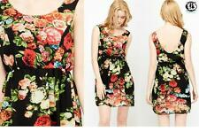 LADIES FLOWER SKATER DRESS BLACK SIZE 8-10 ROMANTIC VALENTINE GOING OUT PARTY