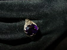 18k Yellow Gold Dark Amethyst Filegree  Ring-Size 6-Stone 11mm by 7.5mm