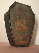 antique 1800's Huntley & Palmers biscuit tole figural embossed tin jar England