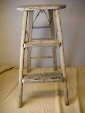 Painted Wood Folding Step Ladder Stool Antique Vintage Original Primitive