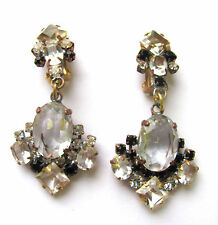 BEL VINTAGE Jewelry strass Clip Orecchini ORZO eccessivamente germinato. D u-201