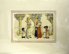 Antique Print Kate Greenaway Meeting Up Mounted ready to frame c1900