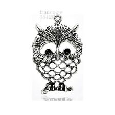 B430//  PENDENTIF CHARM BRELOQUE / HIBOU CHOUETTE 60mm / CREATION BIJOUX COLLIER