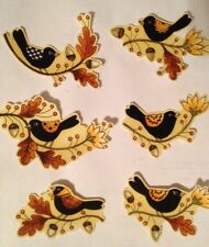 Little Autumn Blackbirds - Fall  - Iron On Fabric Appliques Thanksgiving