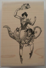 Stampington & Company Teapot Ballerina Woman Whimsical Wood Rubber Stamp S7304