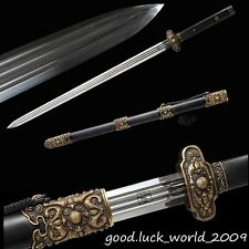 Chinese Longquan Sword Overlord Sword Pattern Steel Copper Fitting Ebony Sheath