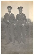 Postcard WW2 Royal Marine and Brother in Civvies Marines RPPC 6