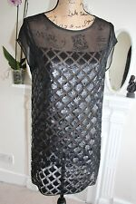 BNWOT All Saints Black Sequin Mesh Dress 8 XS Diamond Lattice Sheer -60%