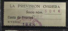 8378-SELLO ESPAÑA CUOTA LA PREVISION OBRERA EN CATALAN Y CASTELLANo 1948